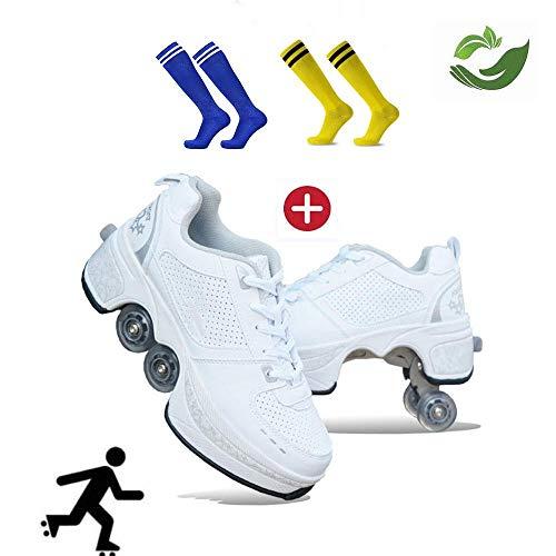 GWYX Roller Skates, Skating-Schuhe Für Männer Und Frauen Automatische Wanderschuhe Für Erwachsene Unsichtbare Riemenscheibenschuhe Skates Mit Zweireihigem Deform-Rad,White-38