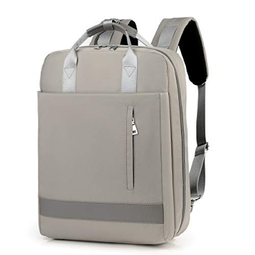 VICTOE Bolsa de nailon impermeable para hombre, de gran capacidad, para mujer, de 15,6 pulgadas, con puerto de carga, elegante, minimalista, bolsa de color sólido, Gray (Gris) - VICTOE-5656