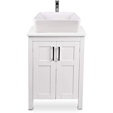 24 Inch Bathroom Vanity And Sink Combo White Modern Mdf Board Countertop Vessel Sink With Water Saving 1 5 Gpm Faucet And Pop Up Darin Bathroom Cabinet No Mirror Vanity 62 Tools Home Improvement