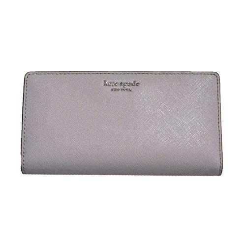 Kate Spade New York Cameron Slim Bifold Wallet Soft Taupe Grey Saffiano Leather, Large