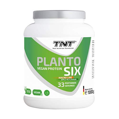 Planto Six – 1 kg Vegan Protein – Veganes Proteinpulver aus Erbsen, Hanf & Lupinen – 6-Komponenten Protein (Apfelkuchen)