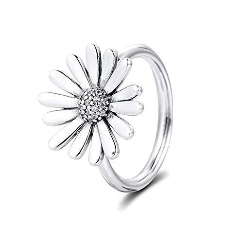BAKCCI 2020 Primavera pavimentar margarita flor declaración anillos para mujer plata 925 DIY se adapta a pulseras originales Pandora encanto joyería de moda (58 #)