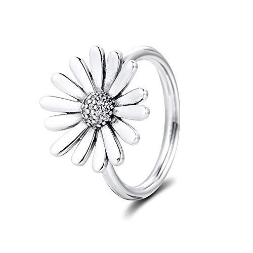 PANDOCCI 2020 Frühling Pave Gänseblümchen Blume Aussage Ringe für Frauen 925 Silber DIY Passend für Original Pandora Armbänder Charme Modeschmuck (58#)