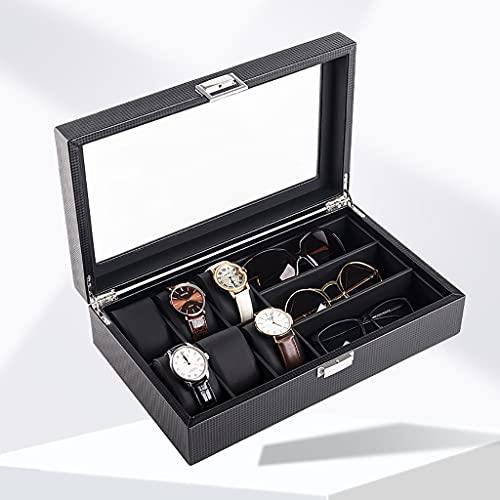 Reloj Box Organizador de Gafas de Sol con Top de Vidrio para Hombres/Mujeres, Titular de la Fibra de Carbono Caja de la Caja de la joyería, 6 Ranura para la visualización del Reloj y 3 Compartimento