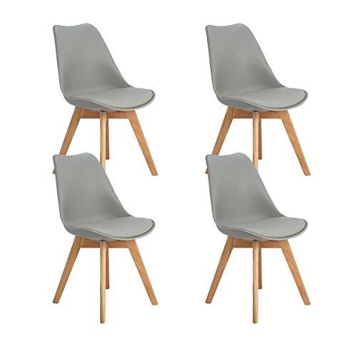 DORAFAIR 4er Set Esszimmerstühle skandinavisches Design mit Massivholz Eiche Bein und Kissen, Grau