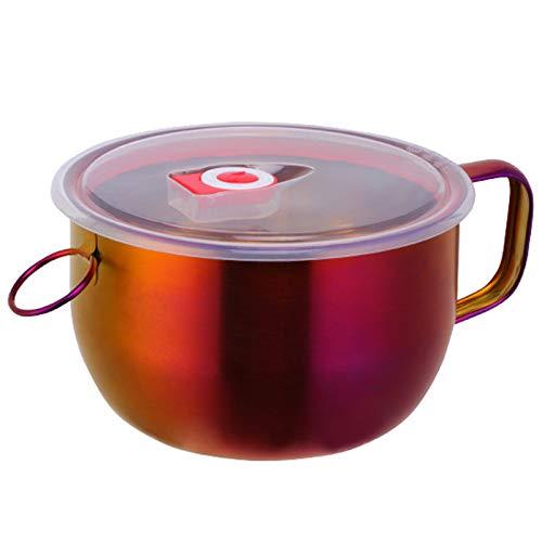 Gesh 1 cuenco multifunción para fideos con asa, anillo para ensalada, helado, sopa, fideos instantáneos, recipiente para alimentos, vajilla de cocina, cuenco n.º 3