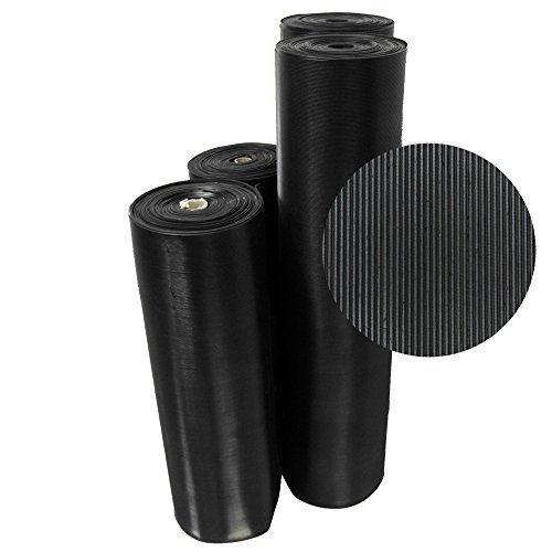 """Rubber-Cal 03_167_W_FR_20 Fine Rib Corrugated Rubber Floor Mats, 1/8"""" Thick x 3' x 20' Runners, Black"""
