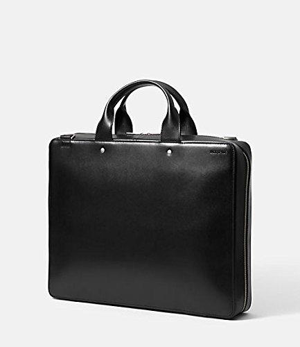 Jack Spade File Case Attache Black Slick Walker Leather