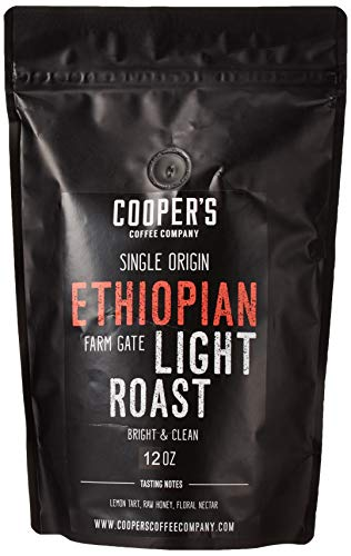 Ethiopian Bright Light Roast Grade 1, Whole Bean Coffee, Natural Dry Processed Micro Lot Single Origin Farm Gate Direct Trade, Intense Bright & Bold Coffee Beans, Gourmet Coffee - 12 oz Bag
