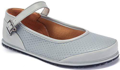 Magical Shoes - Emma - Ballerinas | Barfußschuhe | Damen | Zero Drop | Flexibel | Rutschfest | Natur-Leder, Größe:39 / 250mm, Farbe:Ballerina Emma - Pastellblau
