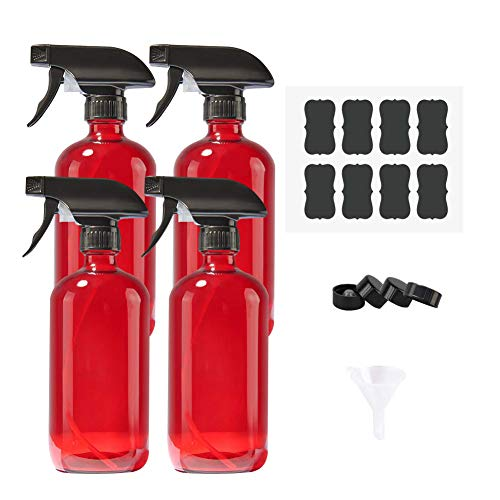 Empty Refillable Red Glass Spray Bottles of 4 Pack 16 oz for Essential Oil, Aromatherapy, Cleaning Products, Perfume,Alcohol Sterilizer, with 4 Free Sprayers, 4 Caps