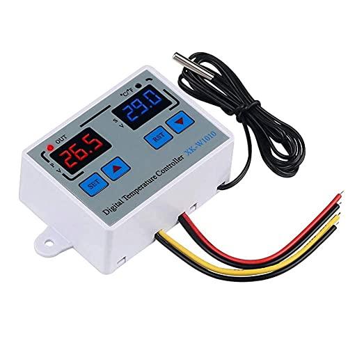 Exanko Termostato LED Digital Controlador de Temperatura Digital C/F para Incubadora Relé LED 10A Calentador XK-W1010 DC12V