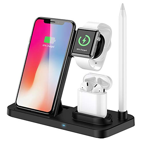 Updated Version Wireless Charging Station,4 in 1 Qi-Certified Wireless Charger for AirPods/Apple Watch Series,Fast Charging Stand for iPhone 11/11 pro/11 Pro Max/XS Max/XR/X/8P(Black)