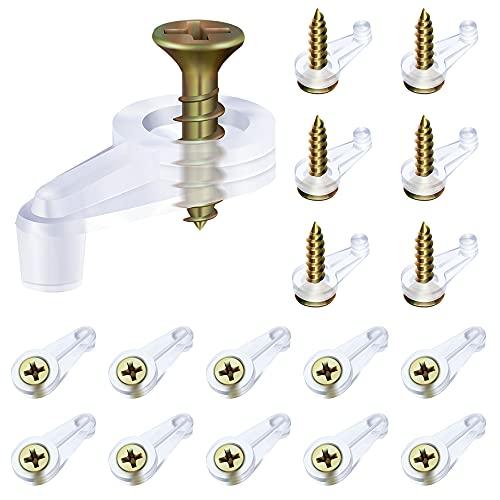 Glass Retainer Clips Kit, Glass Door Retainer Clips Plastic Glass Panel Retainer Clips Mirror Clips with Screws for Cabinet Door (100)