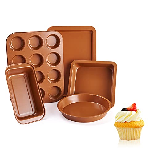 Vplus Bakeware Sets 5 Pcs Nonstick Carbon Steel Baking Include Round Cake Pan, Loaf Pan, Cookie Sheet, Square Pan, and 12 Cups Muffin Pan