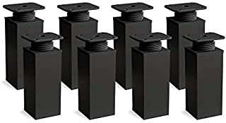 Patas para muebles, 8 piezas, altura regulable | Perfil cuadrado: 40 x 40 mm | Sossai® MFV1-BM | Diseño: Negro Mate | Altura: 60mm (+20mm) | Material: Aluminio | Tornillos incluidos