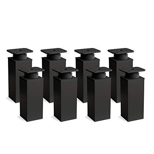 Design-Möbelfüße Doppelpack 2 x 4er Set (8 Stück) höhenverstellbar   Vierkant-Profil: 40 x 40 mm   Sossai® MFV1-BM   Farbe: Mattschwarz   Höhe: 60mm (+20mm)   Material: Aluminium/Kunststoff