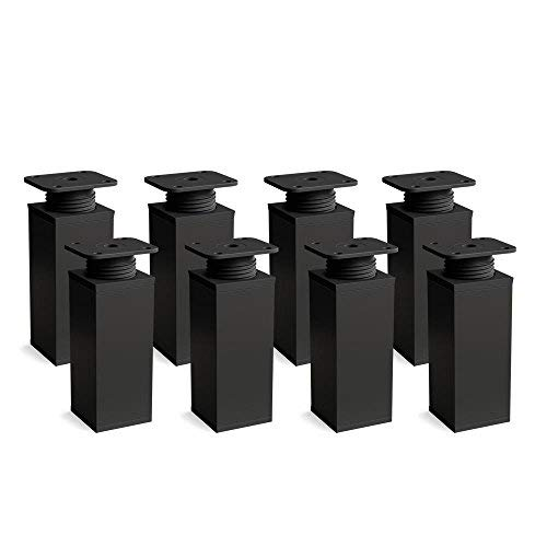 Design-Möbelfüße Doppelpack 2 x 4er Set (8 Stück) höhenverstellbar | Vierkant-Profil: 40 x 40 mm | Sossai® MFV1-BM | Farbe: Mattschwarz | Höhe: 60mm (+20mm) | Material: Aluminium/Kunststoff
