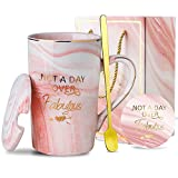 NJCharms Ceramic Marble Coffee mugs set with sayings, Not A Day Over Fabulous Mug, Unique Birthday Gifts for Women - Best Presents Exchange Ideas for Friends Female, Wife, Mom, Sister, 14 Oz, Pink