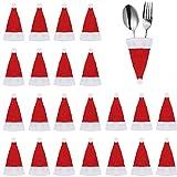 FAVENGO 20 Stück Weihnachten besteckhalter Weihnacht Bestecktasche Tischdeko Weihnachtsbesteckhalter Klein Weihnachtsmannmütze Rot Besteck Tasche für Weihnachtstischdeko Weihnachten Tischdekoration