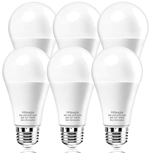 Hilleagle Lampadina LED E27 Luce Fredda 6000K, 13W 1200 Lumens Equivalenti a 100W,Non-Dimmerabile A60 Lampade a risparmio energetico,Pacco da 6[Classe di efficienza energetica A+]
