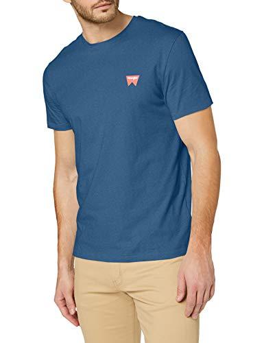Wrangler SS Sign Off tee Camiseta, Dark Blue Teal, S para Hombre