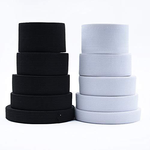 10/15/20/25/30/35/40 / 50mm 1-5 meter elastiek zwart wit bandkabel spandex elastische broek DIY ambachtelijke naaiaccessoires,25mm wit,2 meter
