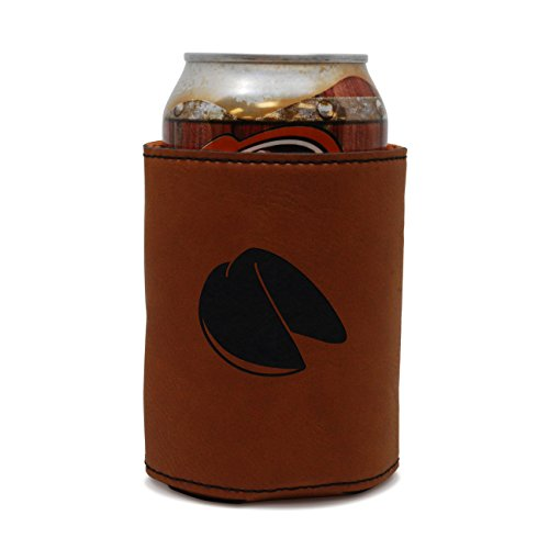 MODERN GOODS SHOP Leather Can Cooler With Fortune Cookie Engraving - Oil, Stain, and Water Resistant Beer Hugger - Standard Size Beer and Soda Can Sleeve