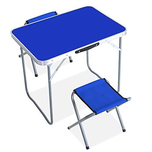 MJJLT klaptafel picknick kleine zitplaats draagbare eettafel aluminiumlegering campingbenodigdheden buitenshuis 2 banken 80 * 50 * 60 cm