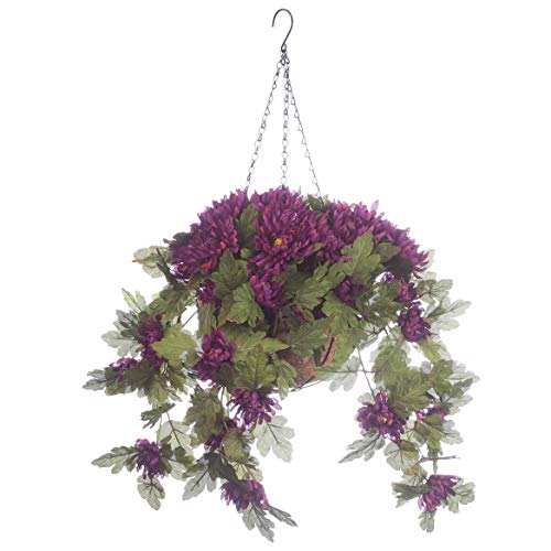 """OakRidge Fully Assembled Artificial Mum Hanging Basket, Purple, 10"""" Diameter with 18"""" Long Chain – Polyester/Plastic Flowers in Metal/Coco Fiber Liner Basket for Indoor/Outdoor Use"""