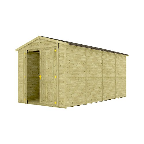 16 x 8 Pressure Treated Windowless Grandmaster Wooden Garden Shed Traditional Apex Gable Double Door 16FT x 8FT