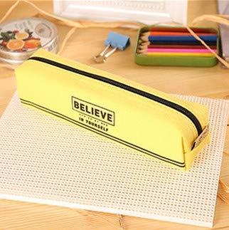 Simple Canvas Pencil-Box Student School Pencil Case Office Stationery Storage Bag Small Items Bag (Greetfrog) (Color : Yellow)