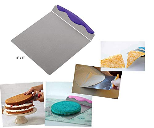 Saiyam Stainless Steel Cake Lifter Pizza Lifter with Non-Slip Handle Cakes Move Plate Layer Lifter Cake Transfer Shovel Bread Baking Tools (Color May Vary)