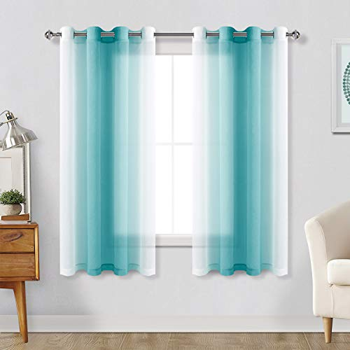 Hiasan Ombre Sheer Curtains for Living Room - Faux Linen Voile Grommet Window Curtains for Bedroom, Set of 2 Panels, 52 x 63 Inches Length, Turquoise Gradient