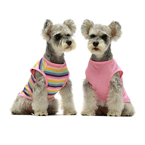 Fitwarm 2-Pack 100% Cotton Striped Dog Shirt for Pet Clothes Puppy Vest T-Shirts Cat Top Tee Breathable Stretchy Pink Large