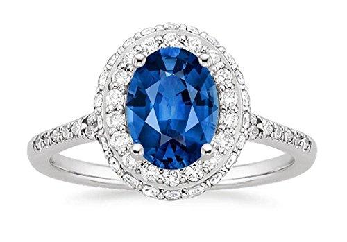 Anillo de compromiso de diamantes ovalados de 1,90 quilates, diamantes de zafiro azul, piedra preciosa de oro blanco de 14 quilates, todas las tallas M