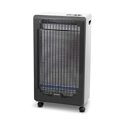 Rowi Gasheizofen Blue Flame mit Sauerstoffmangelsicherung/ 4200 Watt /300 g/h Gasverbrauch/Gasheizvolumen 120 m³, Piezozünder, Farbe (weiß) inkl. Schlauch und Druckregler Typ 694, Made in Europe
