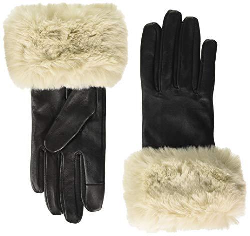 PIECES Damen PCSIKA Leather Gloves Handschuhe, Black/Detail:Nature, M