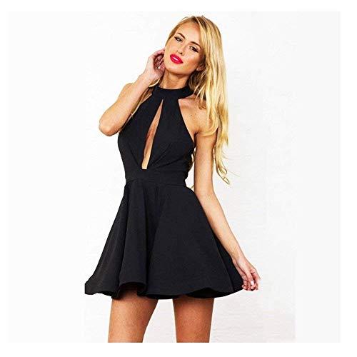 OUTLETISSIMO® mini jurk zwart sexy jurk halsuitsnijding één maat + Tanga