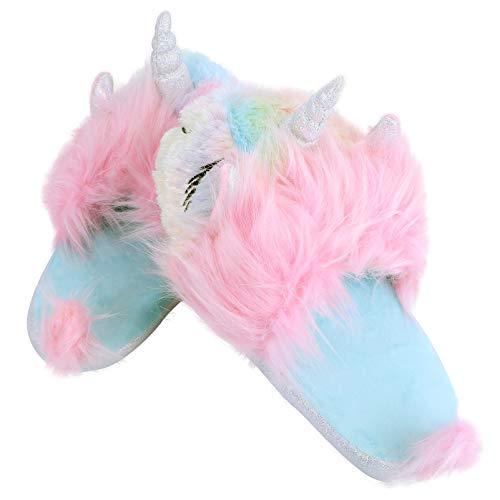PRETYZOOM Zapatillas de Unicornio Arco Iris Lindas Zapatillas Mullidas para Niñas Otoño Invierno Cálido de Felpa Interior Al Aire Libre Zapatos de Mujer para Calzado de Casa 26X9x5cm US 9