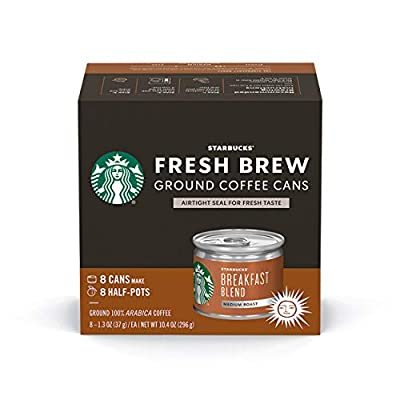Starbucks Medium Roast Fresh Brew Ground Coffee Cans — Breakfast Blend — 4 boxes (32 cans total)