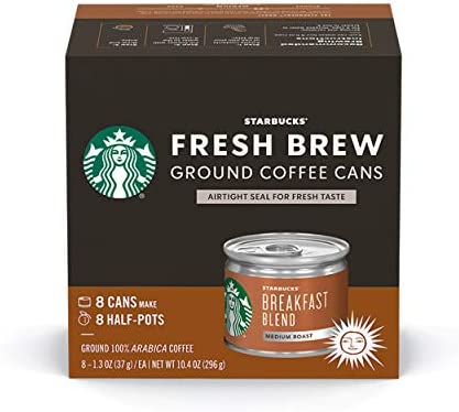 Starbucks Medium Roast Fresh Brew Ground Coffee Cans Breakfast Blend 4 boxes 32 cans total product image