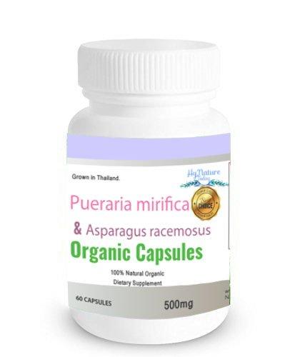 ORGANIC 60CAPS 500mg PUERARIA MIRIFICA Shatavari (Asparagus racemosus) 100% Premium Grade Grown in Thailand.
