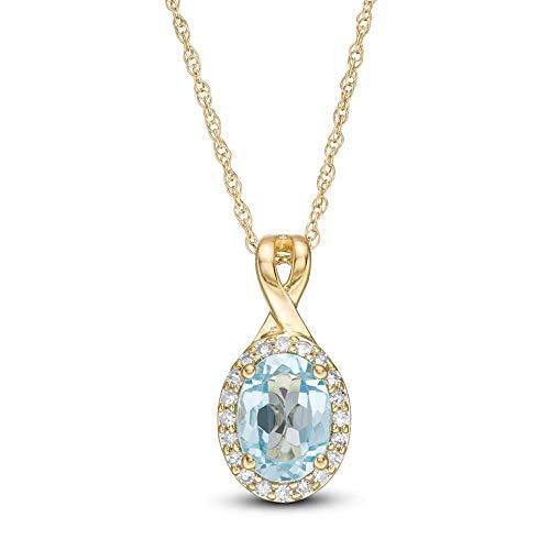 7,0 x 5,0 mm con forma ovalada topacio azul y 1/10 CT. T.W. D/VVS1 colgante de marco de diamante para mujer chapado en oro amarillo de 10 quilates plata 925