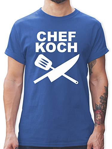Küche - Chefkoch Messer - XXL - Royalblau - Silhouette Messer - L190 - Tshirt Herren und Männer T-Shirts