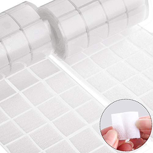 400 Pcs (200 Pairs) Self Adhesive Dots,Sticky Dots, 1 Inch Square Tape with Waterproof Sticky Adhesive Glue Fastener for Office, School, Classroom (White)
