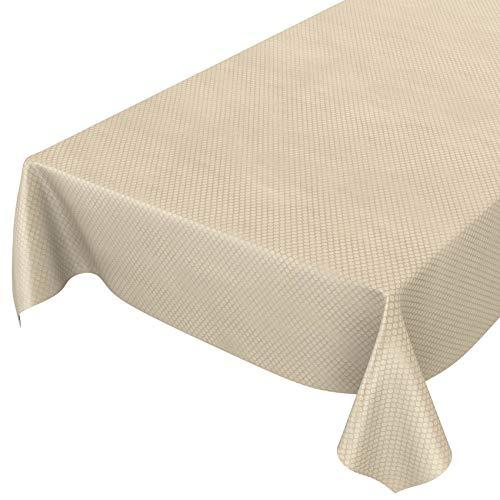 ANRO Wachstuch Tischdecke abwaschbar Wachstuchtischdecke Wachstischdecke Punkte Creme Relief Textiloptik 240x140cm