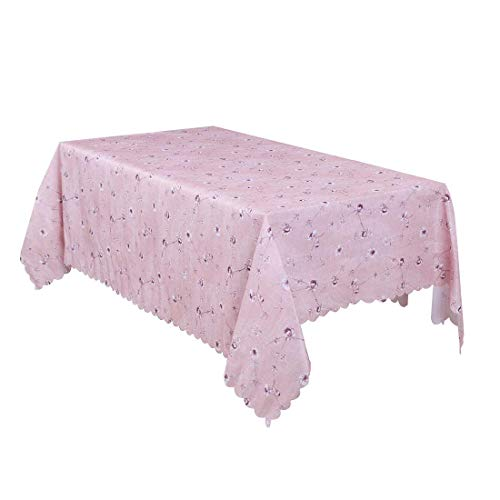 N/D - Mantel rectangular de algodón y lino para mesa, flexible, resistente al calor, para cocina, cena de boda, 71 x 55 pulgadas, color rosa