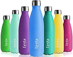 Grsta Botella Agua, 350/500 / 750ml Botella Agua Acero Inoxidable sin BPA Pared Completa Botellas de Frío/Caliente Termo...