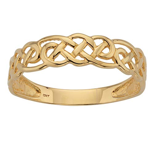 Solid 10K Yellow Gold Celtic Weave Ring (1.8mm) Size 9